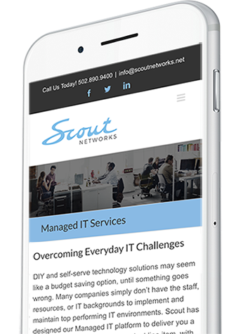 Manged IT Resources Website Design on a Mobile Device