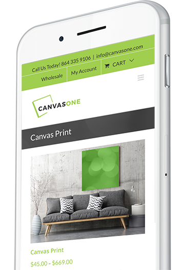 Canvas Printing Website Design on Mobile Device
