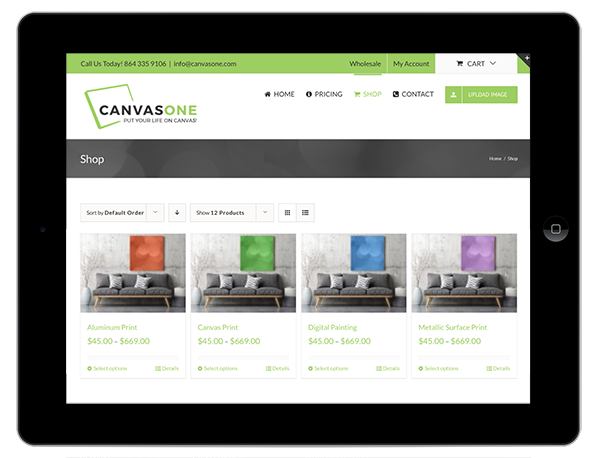 Canvas Printing Website Design on a Tablet